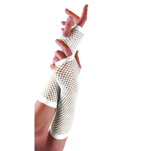 Ladies Sexy Long Fingerless Fishnet White Gloves 80s Fancy Dress Accessory