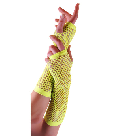 Ladies Sexy Long Fingerless Fishnet Yellow Gloves 80s Fancy Dress Accessory
