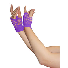 Ladies Sexy Short Fingerless Fishnet Purple Gloves 80s Fancy Dress Accessory