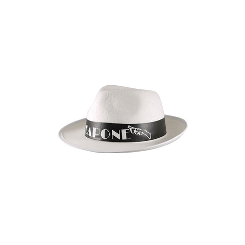 Mens Trilby AlCapone Gangster Black And White Hat Adults Fancy Dress Accessory
