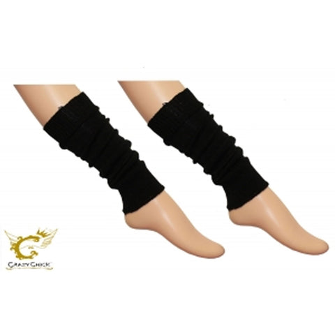 Crazy Chick Girls Black Plain Leg Warmer