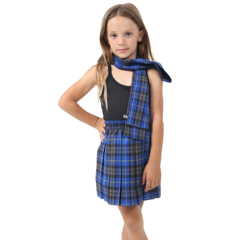 Girls Blue Box Plated Tartan Skirt Pleated Check School Skirts
