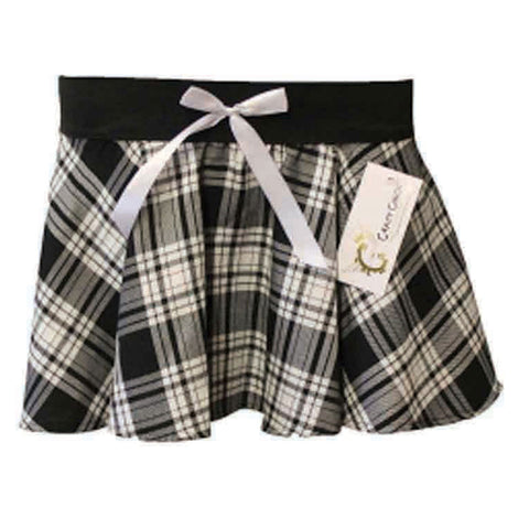 Girls Black & White Tartan Skirt With Bow Pleated Check School Skirts
