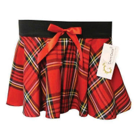 Girls Red Tartan Skirt With Bow Pleated Check Casual Plaid Party Skirts Fancy Dress