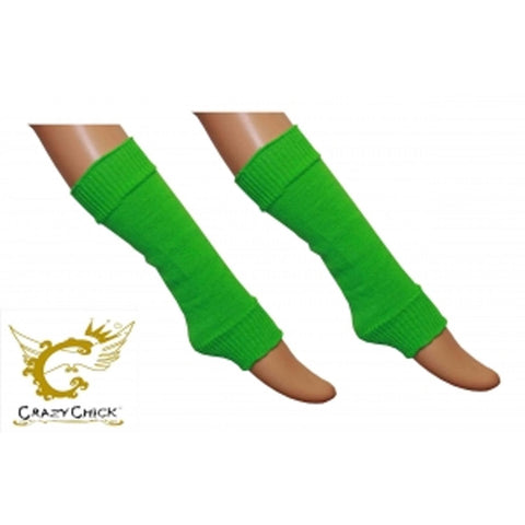 Crazy Chick Girls Green Plain Leg Warmer
