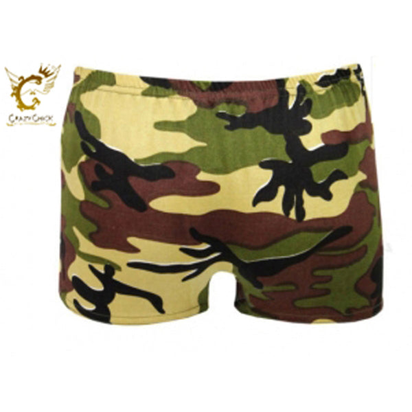 Girls Microfiber Camouflage Hot Pants Stretchy Dance Fancy Dress