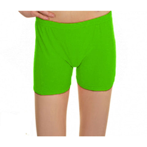 Neon Green Lycra Microfiber Girls Hot Pants