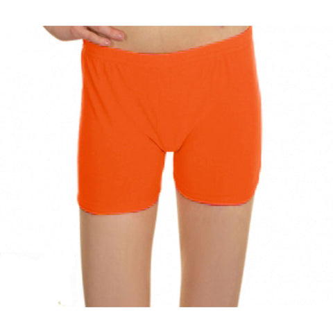Neon Orange Lycra Microfiber Girls Hot Pants