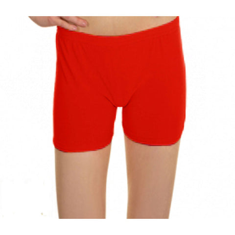 Neon Red Lycra Microfiber Girls Hot Pants