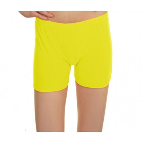 Neon Yellow Lycra Microfiber Girls Hot Pants
