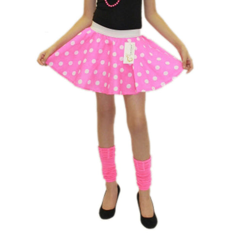 Girls Pink White Polka Dot Skirt Fancy Dress School Skirts