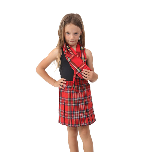 Girls Red Box Plated Tartan Skirt Pleated Check School Skirts