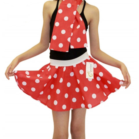 Girls Red White Polka Dot Skirt Fancy Dress School Skirts