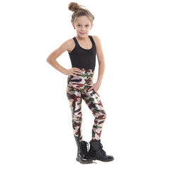 Girls Shiny Metallic Camouflage Stretchy Slim Fit Leggings
