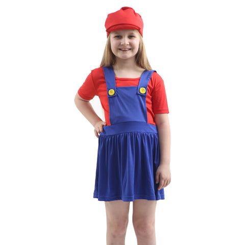 Girls Super Plumber Bro Red Blue Costume