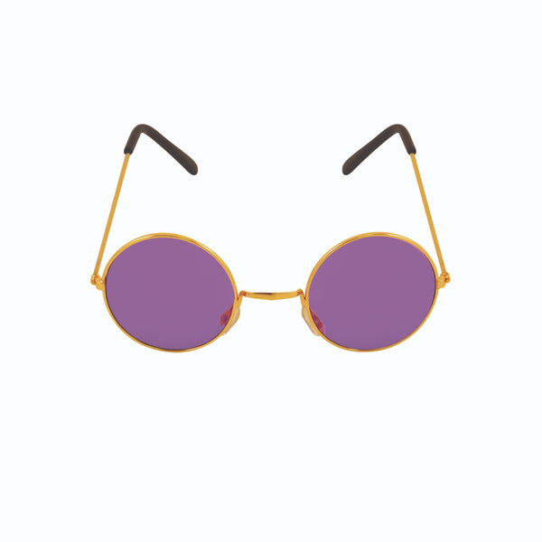 Unisex Purple Lenses With Round Gold Frame Glasses Adult Novelty Party Accessory