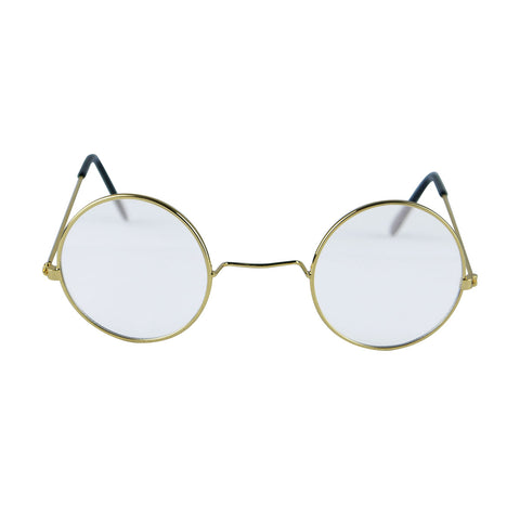 Unisex Clear Lenses With Round Gold Frame Glasses Adult Novelty Party Accessory
