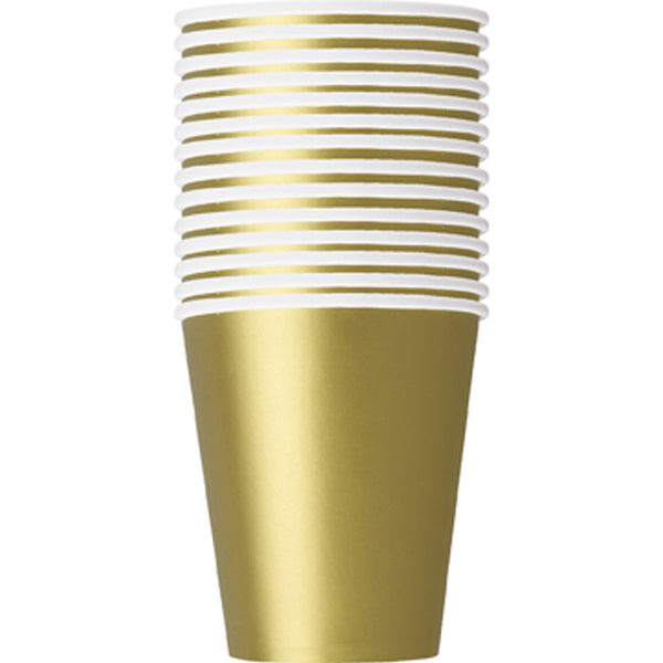 Gold Plain Cups 9 Oz (Pack of 14)