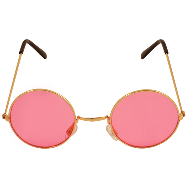 Unisex Pink Lenses Glasses with Gold Frames Adult Party Fancy Dress Accessory