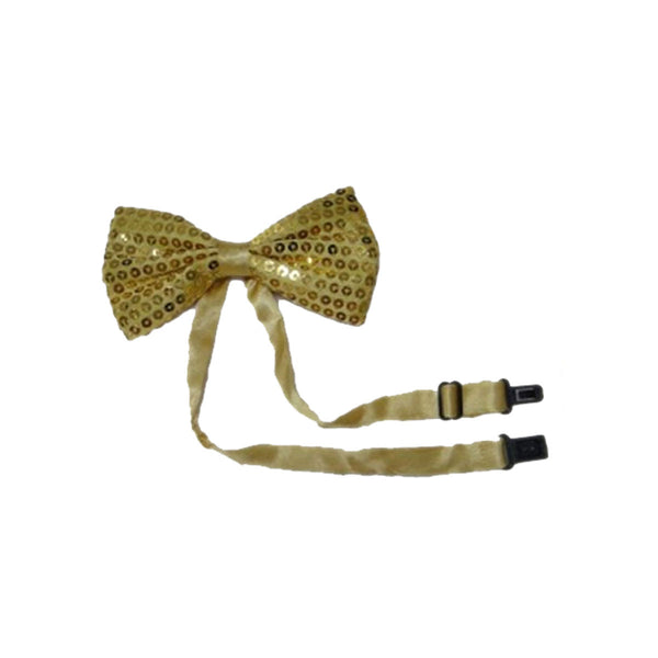 Adult Satin Gold Sequin Bow Tie