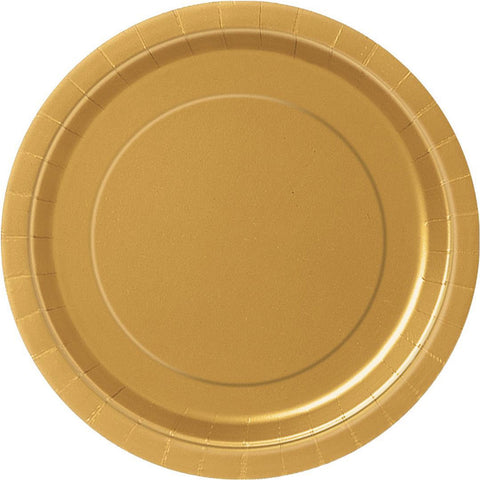 Plain Plates Gold 9 Inches (Pack of 16)