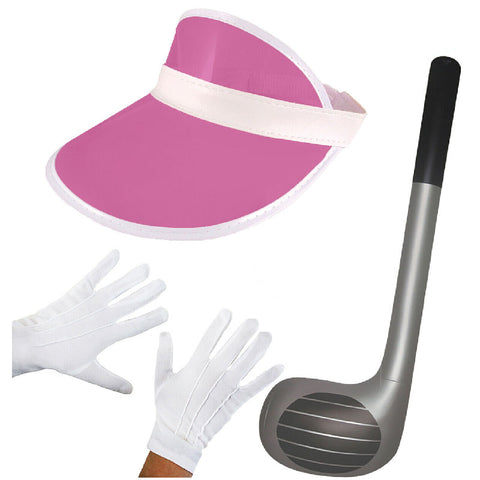 Golf Visor Hat White Gloves Inflatable Club Stag Hen Fancy Dress Costume