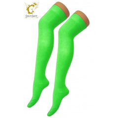 Womens Over The Knees Plain Green Socks