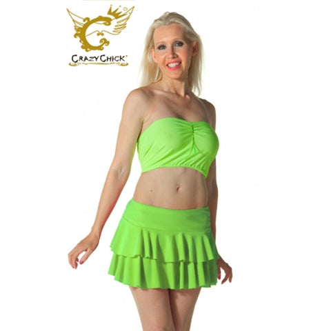 Women Green RARA Two Tier Frill Mini Skirt