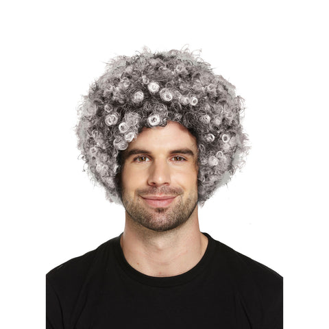 Adults Grey Afro Wig Curly Fancy Dress Funky Disco Clown Style 70s Hair
