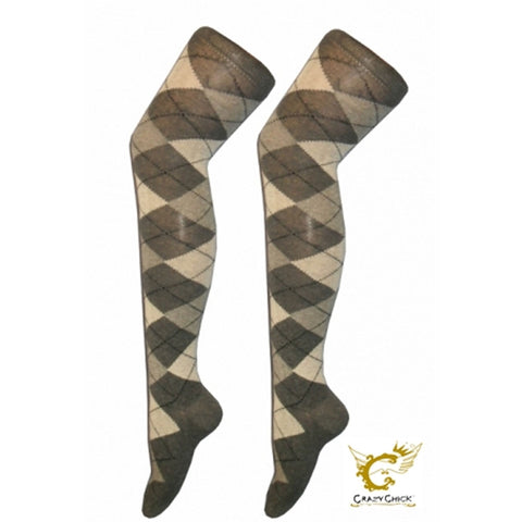 Women Grey Diamante Argyle Over The Knees Socks
