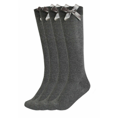 Girls 3 Pairs Value Pack Grey Knee High Bow Detail Back 2 School Cotton Rich Socks