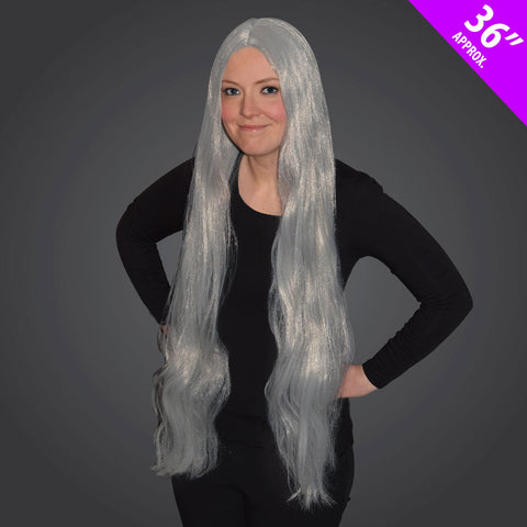 Ladies Straight Grey 36inch Long Wig Womens Fancy Dress Cosplay Pop Party Accessory