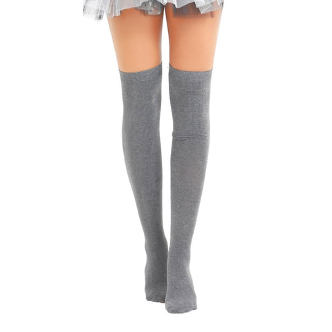 Womens Over The Knees Plain Grey Socks