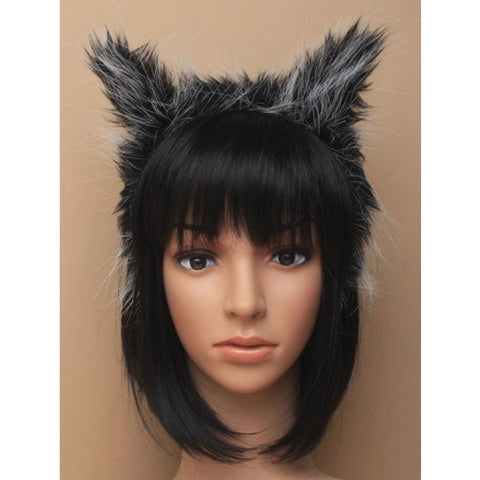 Grey And Black Faux Fur Fabric Werewolf Ears Headband