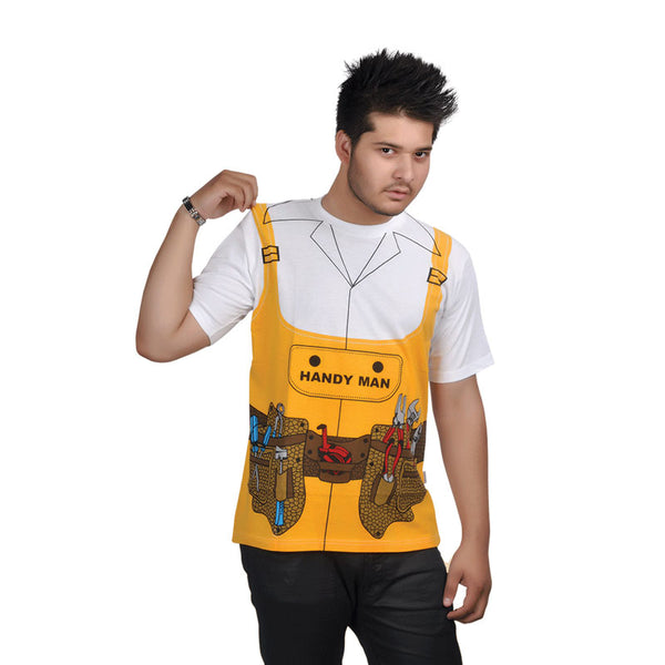 Adult Handy Man Yellow Printed T-Shirt