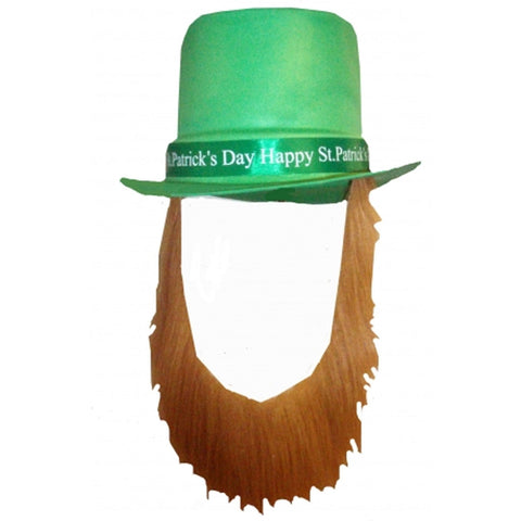 Happy St Patrick's Day Topper Hat With Brown Beard