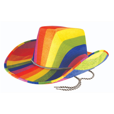 Adults Rainbow Cowboy Felt Hat Mens Gay Pride Carnival Fancy Dress Costume Hat