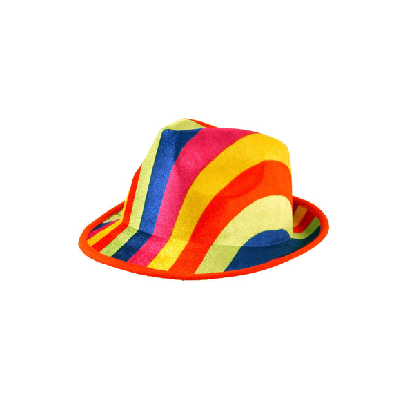 Gangster Rainbow Hat Adult Gay Pride LGBT Carnival Fancy Dress Costume Accessory