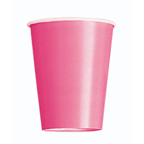 Hot Pink Plain Cups 9 Oz (Pack of 14)