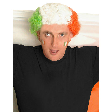 Adult Irish National Flag Style Curly Wig Unisex Afro Hair Fancy Dress Accessory