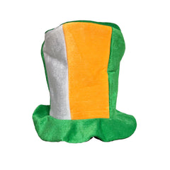 Irish St Patricks Day Jester Top Hat Ireland Tricolour Hat Fancy Dress Accessory