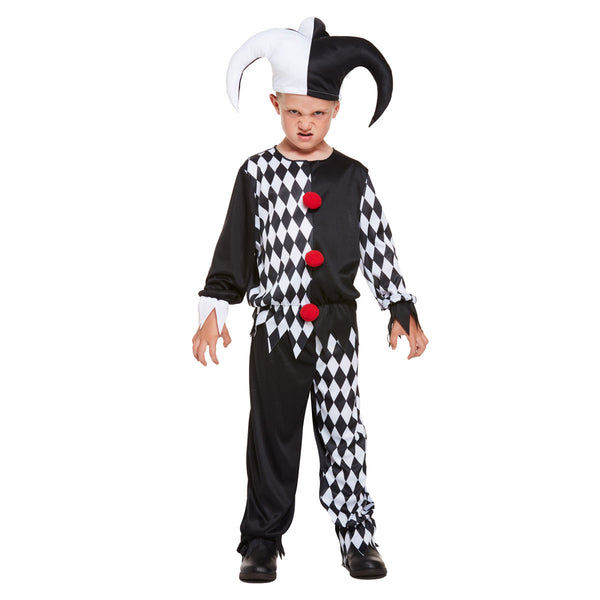 Child Jester Evil Costume Halloween Boys Horror Scary Clown Fancy Dress Outfit