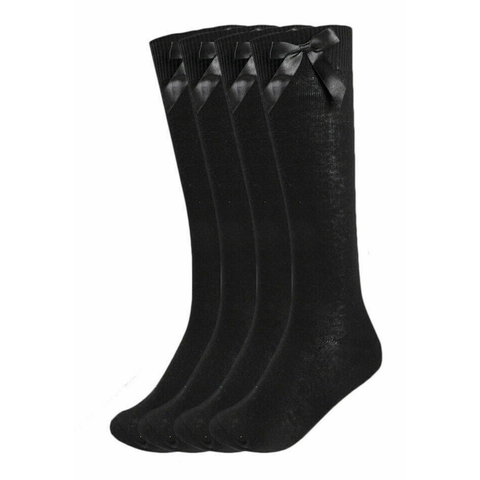 Girls 3 Pairs Value Pack Black Knee High Bow Detail Back 2 School Cotton Rich Socks