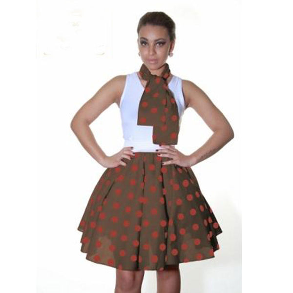 Ladies 1950's Brown Red Polka Dot 22 Inches Skirt Set