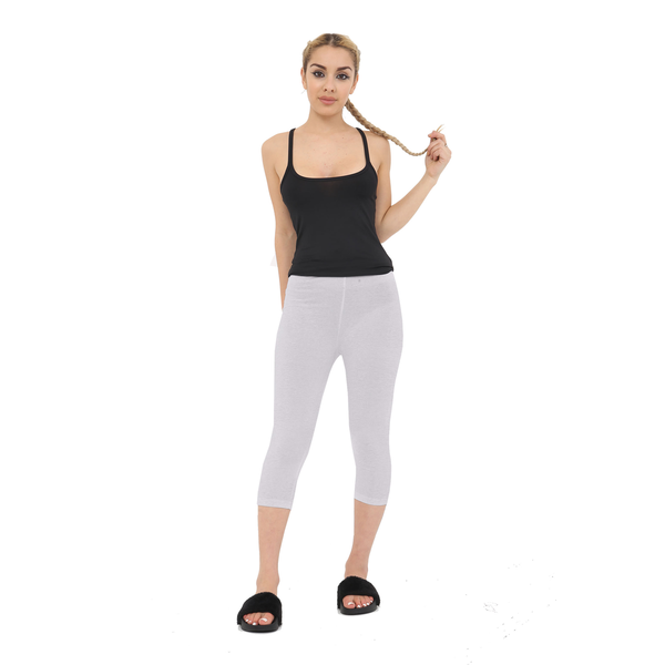 Ladies Light Grey Cotton Capri Leggings 3/4 Length