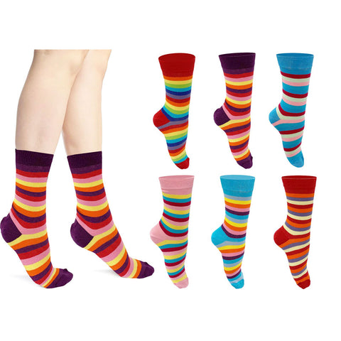 Ladies Multi Colors Stripe Cotton Ankle Socks(6 Pairs)