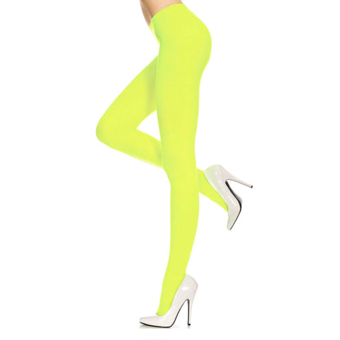 Yellow Ladies Opaque Tights Leggings