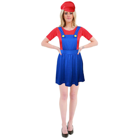 Ladies 80s Super Plumber Bro Red Blue Costume Womens Fancy Party Wear Outfit