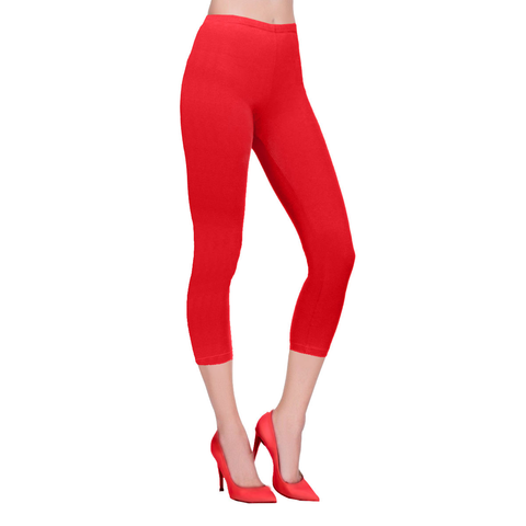 Ladies Red Cotton Capri Leggings 3/4 length
