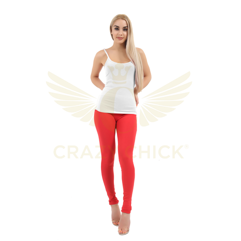 Ladies Red Cotton Full Length Leggings